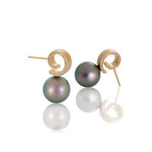 Tahitian Pearl and Side Diamond Post Earrings by Martha Seely
