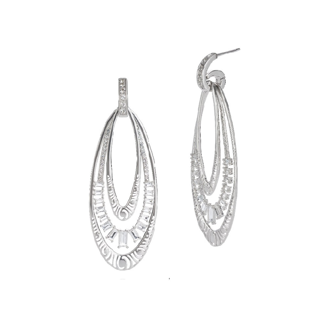White Topaz Lyra Swirl Earrings by Martha Seely - Talisman Collection Fine Jewelers