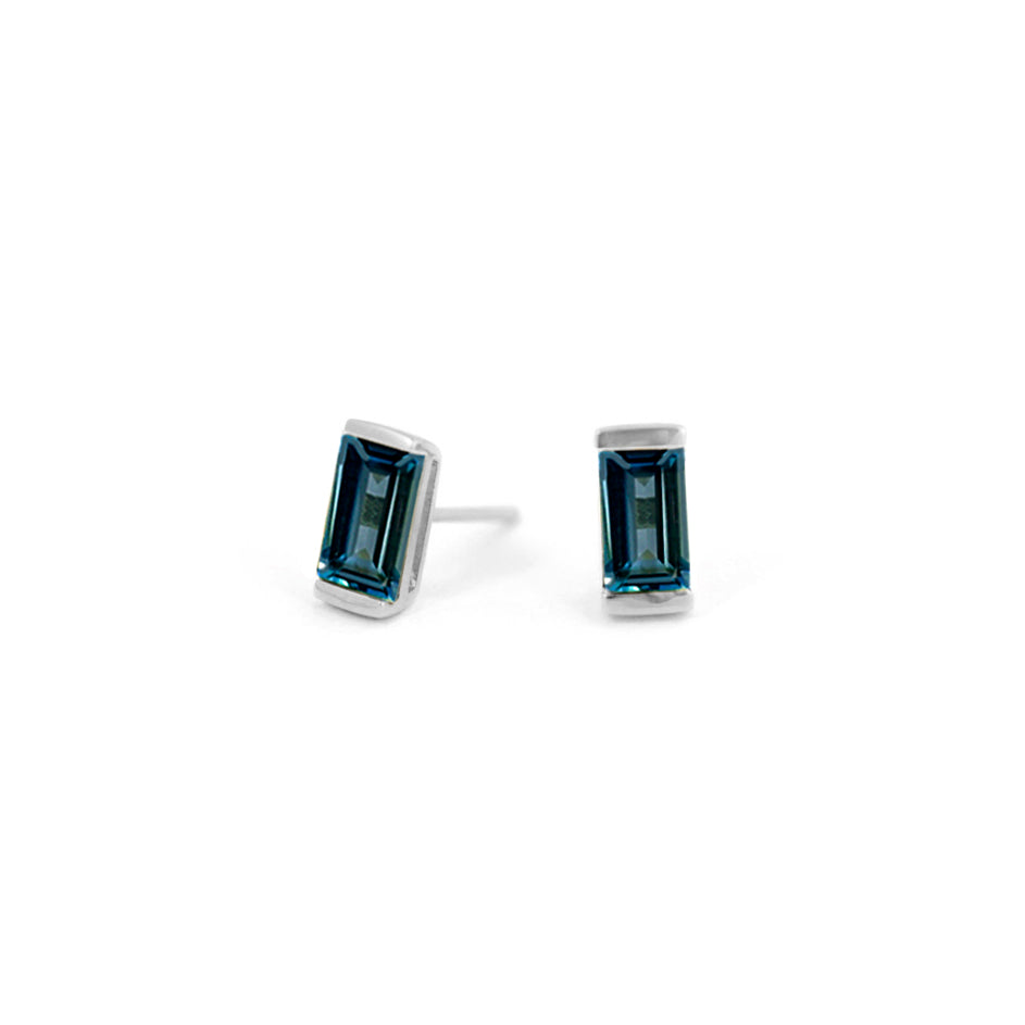 Swiss Blue Topaz Bonbon Stud Earrings