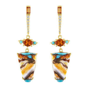 Spiny Oyster Turquoise and Fire Opal Drop Earrings by Eden Presley - Talisman Collection Fine Jewelers
