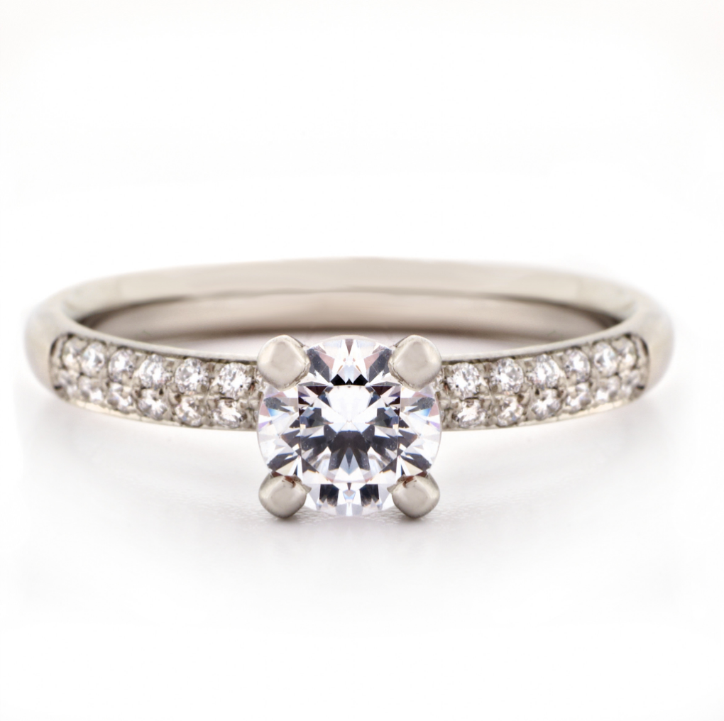 Four Claw Pave Diamond Engagement Ring by Anne Sportun - Talisman Collection Fine Jewelers