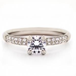 Anne Sportun Four Claw Pave Diamond Engagement Ring - Talisman Collection Fine Jewelers