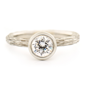 Bark Textured Solitaire Engagement Ring by Anne Sportun - Talisman Collection Fine Jewelers
