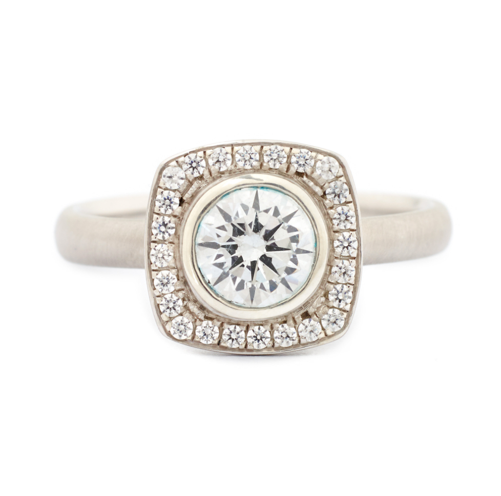Cushion Halo Engagement Ring by Anne Sportun - Talisman Collection Fine Jewelers