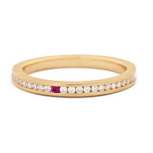 Single Pink Sapphire Diamond Band by Anne Sportun - Talisman Collection Fine Jewelers