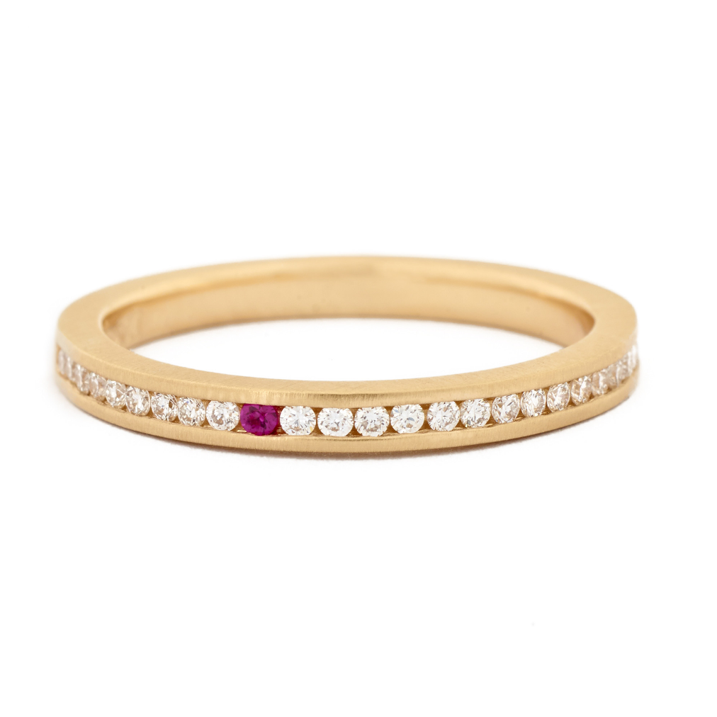 Anne Sportun Single Pink Sapphire Diamond Band - Talisman Collection Fine Jewelers