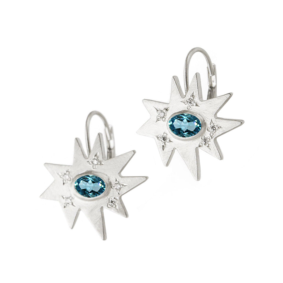Swiss Blue Topaz Stellina Earrings in Sterling Silver