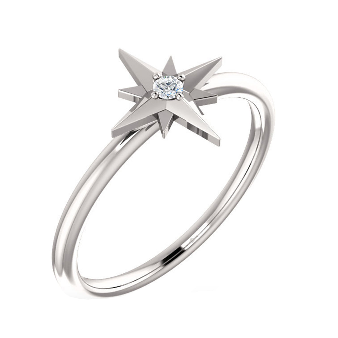Diamond Starburst Ring in Gold, Platinum or Sterling Silver - Talisman Collection Fine Jewelers