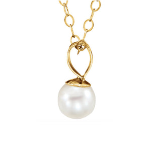 Pearl Drop Necklace in White, Yellow or Rose Gold - Talisman Collection Fine Jewelers