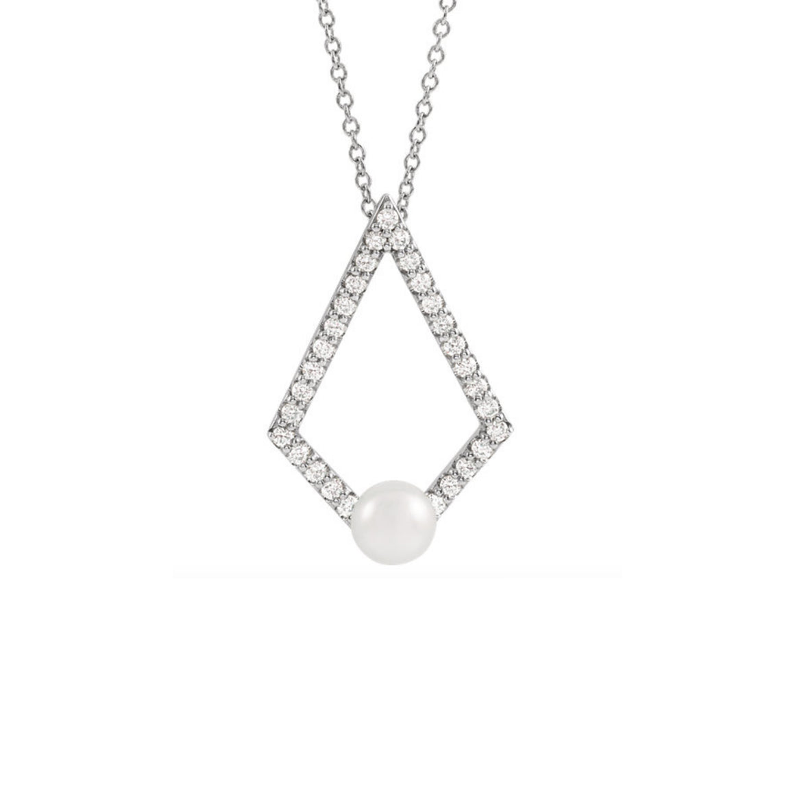 Pearl and Diamond Geometric Necklace in White, Yellow or Rose Gold - Talisman Collection Fine Jewelers