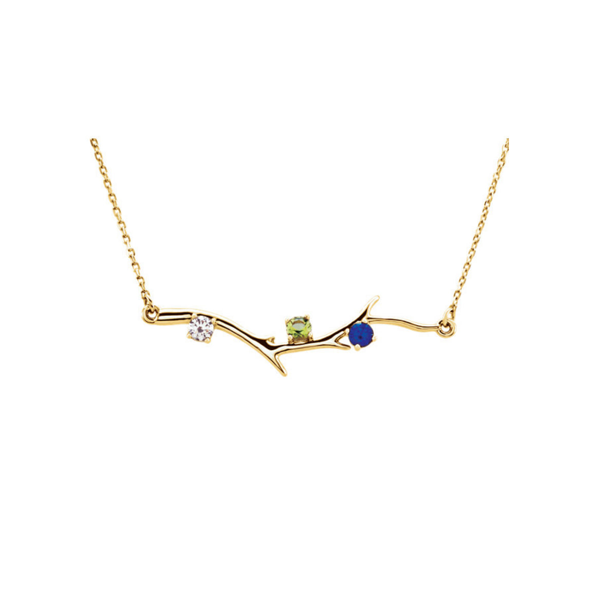 Custom 14k Gold 3-Stone Family Branch Necklace