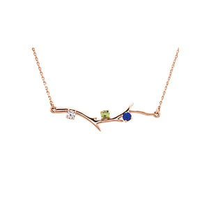Custom 14k Gold 3-Stone Family Branch Necklace - Talisman Collection Fine Jewelers