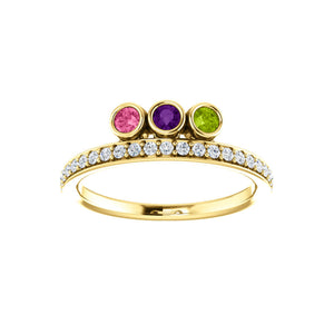 Custom 14k Gold 3-Stone and Diamond Family Ring - Talisman Collection Fine Jewelers