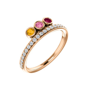 Custom 14k Gold 3-Stone and Diamond Family Ring