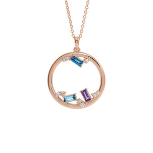 Custom 14k Gold 3-Stone and Diamond Open Circle Family Necklace - Talisman Collection Fine Jewelers