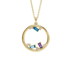 Custom 14k Gold 3-Stone and Diamond Open Circle Family Necklace