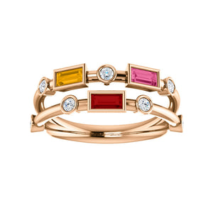 Custom 14k Gold Baguette 3-Stone and Diamond Family Ring - Talisman Collection Fine Jewelers