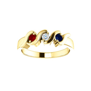 Custom 14k Gold 3-Stone Family Ring - Talisman Collection Fine Jewelers