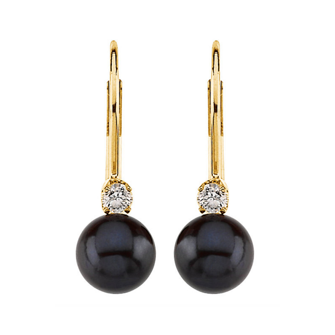 Akoya Cultured Pearl & Diamond Lever Back Earrings - Talisman Collection Fine Jewelers