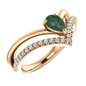 "Alexandrite and Diamond Double ""V"" Ring in White, Yellow or Rose Gold - Talisman Collection Fine Jewelers"