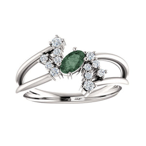 Alexandrite and Diamond Bypass Ring in White, Yellow or Rose Gold - Talisman Collection Fine Jewelers