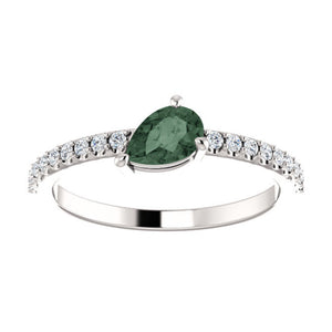 Pear-Shaped Alexandrite and Diamond Ring in White, Yellow or Rose Gold - Talisman Collection Fine Jewelers