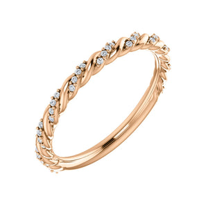 Pave Twisted Diamond Stack Band in White, Yellow or Rose Gold - Talisman Collection Fine Jewelers