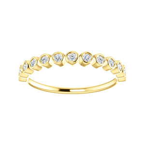 Bezel-Set Diamond Stack Band in White, Yellow or Rose Gold - Talisman Collection Fine Jewelers