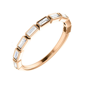 0.25 Carat Bezel-Set Diamond Baguette Stack Band in White, Yellow or Rose Gold