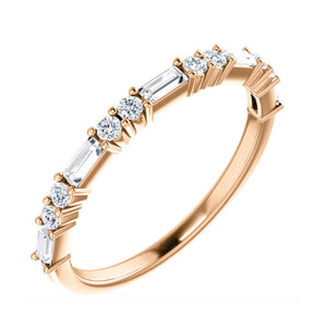 Baguette and Round Diamond Stack Band in White, Yellow or Rose Gold - Talisman Collection Fine Jewelers