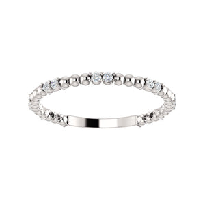 Alternating Diamond Bead Stack Band in White, Yellow or Rose Gold - Talisman Collection Fine Jewelers
