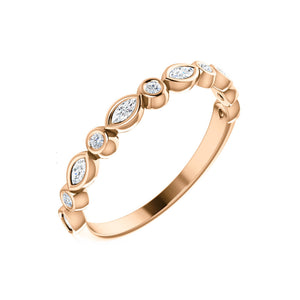 Marquise and Round 0.25 Carat Diamond Stack Band in White, Yellow or Rose Gold - Talisman Collection Fine Jewelers
