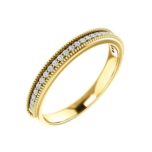 Beaded Milgrain Diamond Stack Band in White, Yellow or Rose Gold - Talisman Collection Fine Jewelers