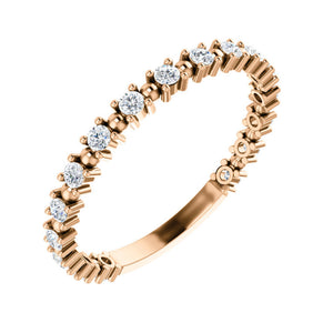 Diamond Beaded Stack Band in White, Yellow or Rose Gold - Talisman Collection Fine Jewelers