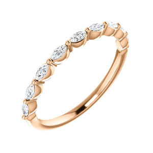 0.25 Carat Marquise Diamond Stack Band in White, Yellow or Rose Gold