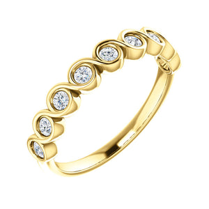 Round Bezel Set Flow 0.25 Carat Diamond Stack Band in White, Yellow or Rose Gold - Talisman Collection Fine Jewelers