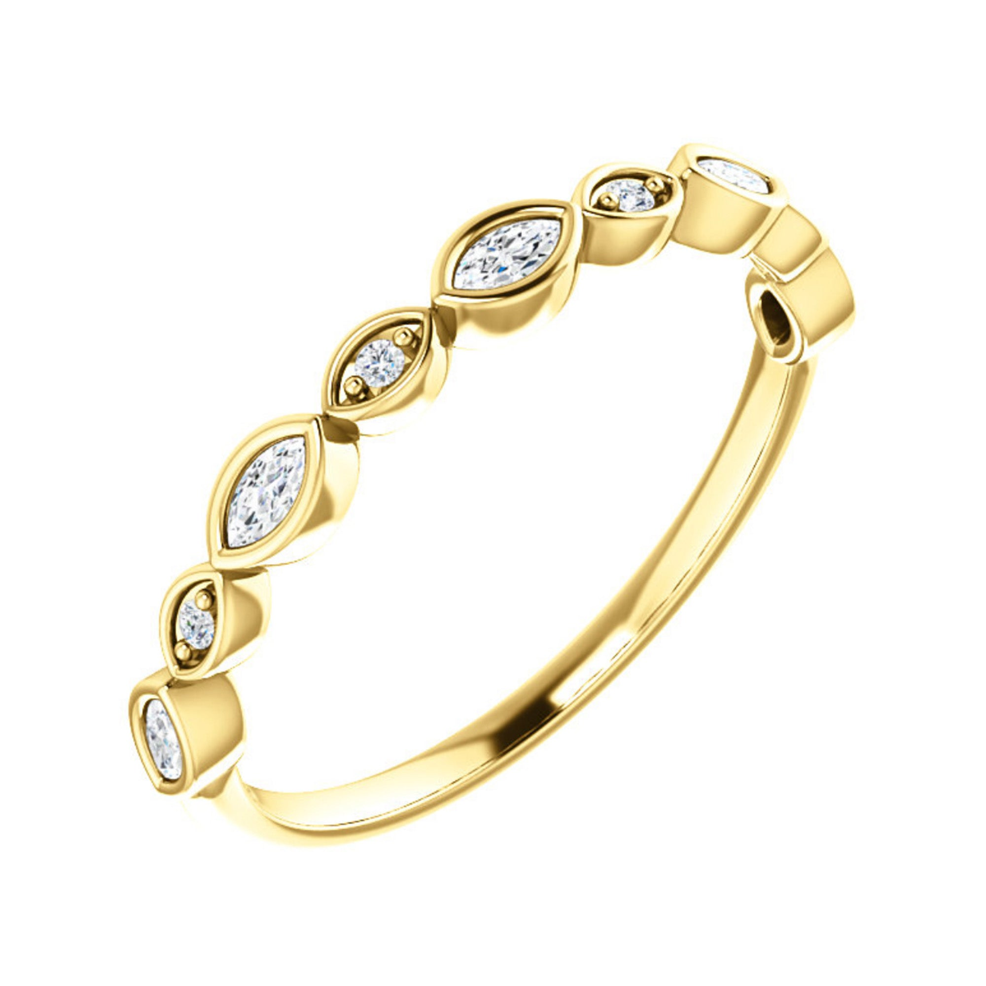 Alternating Marquise and Round Diamond Stack Band in White, Yellow or Rose Gold - Talisman Collection Fine Jewelers