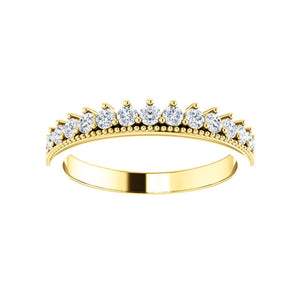 Diamond Crown Stack Band in White, Yellow or Rose Gold