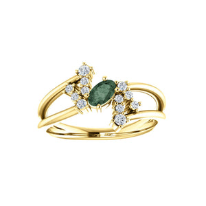 Custom 14k Gold Oval Gemstone and Diamond Bypass Ring - Talisman Collection Fine Jewelers