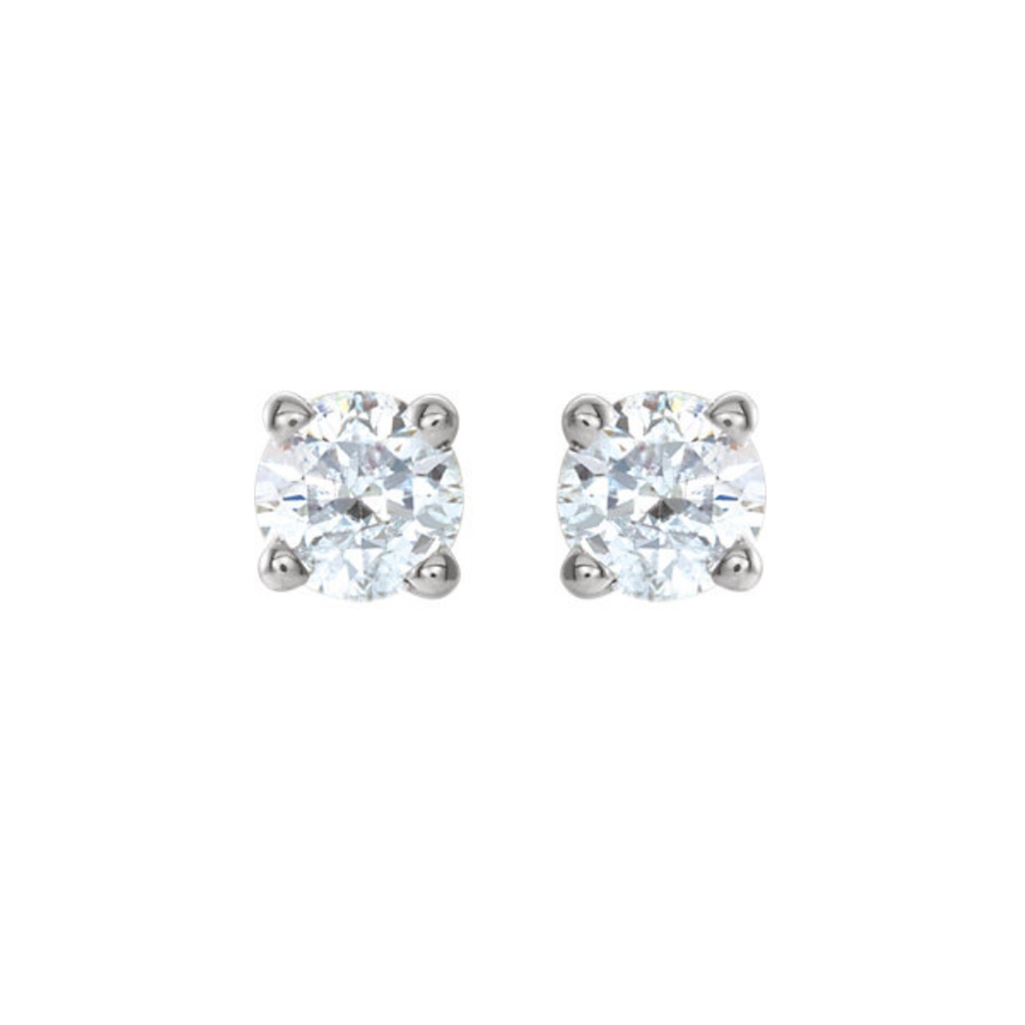 Diamond Stud Earrings, 0.75 Carat Total Weight in 14k White, Yellow or Rose Gold - Talisman Collection Fine Jewelers
