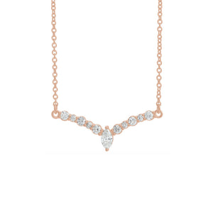 "Diamond ""V"" Necklace in White, Yellow or Rose Gold - Talisman Collection Fine Jewelers"
