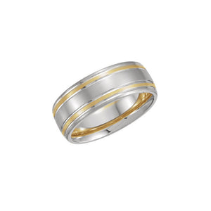 Two-Tone Men's Comfort Fit Grooved Band - Talisman Collection Fine Jewelers