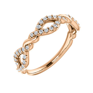 Twisted Diamond Stack Band in White, Yellow or Rose Gold - Talisman Collection Fine Jewelers