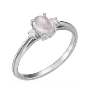 Rainbow Moonstone and Diamond Ring in White, Yellow or Rose Gold - Talisman Collection Fine Jewelers