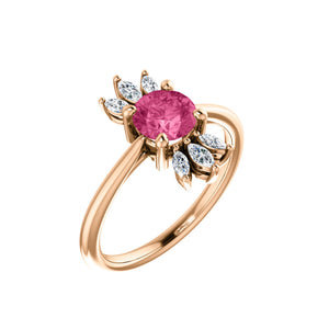 Custom 14k Gold Gemstone and Marquise Diamond Halo Ring