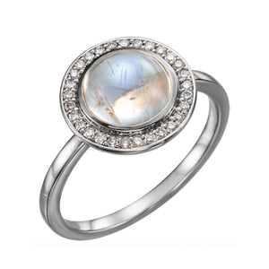 Rainbow Moonstone and Diamond Orbit Ring in White, Yellow or Rose Gold - Talisman Collection Fine Jewelers