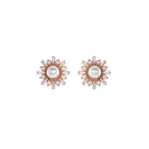 Akoya Pearl, White Opal and Diamond Stud Earrings - Rose Gold - Talisman Collection Fine Jewelers