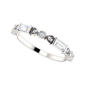 Mixed-Shape Diamond Stack Band in White, Yellow or Rose Gold - Talisman Collection Fine Jewelers