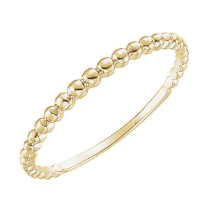 Beaded Stackable Band in White, Yellow or Rose Gold - Talisman Collection Fine Jewelers