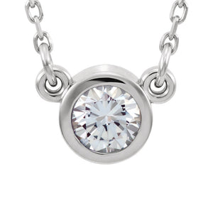 Genuine Gemstone Bezel-Set  Necklace in White, Yellow or Rose Gold - Talisman Collection Fine Jewelers